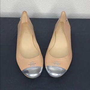 Coach silver toe flats